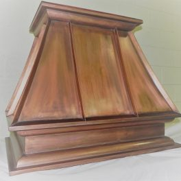 COPPER KITCHEN HOOD WITH ORNATE TRIM