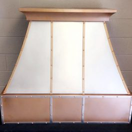 STAINLESS AND COPPER KITCHEN HOOD WITH RIVOTS