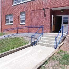 steel rails painted blue
